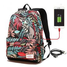 Kobiety USB ładowania plecak na laptopa dla nastoletnich dziewcząt szkoły plecak worek drukowanie kobiece plecaki dla studentów tanie tanio Backpacks Softback Poliester Solidna torba MM867 Z bansusu Computer Interlayer Interior Zipper Pocket Interior Slot Pocket
