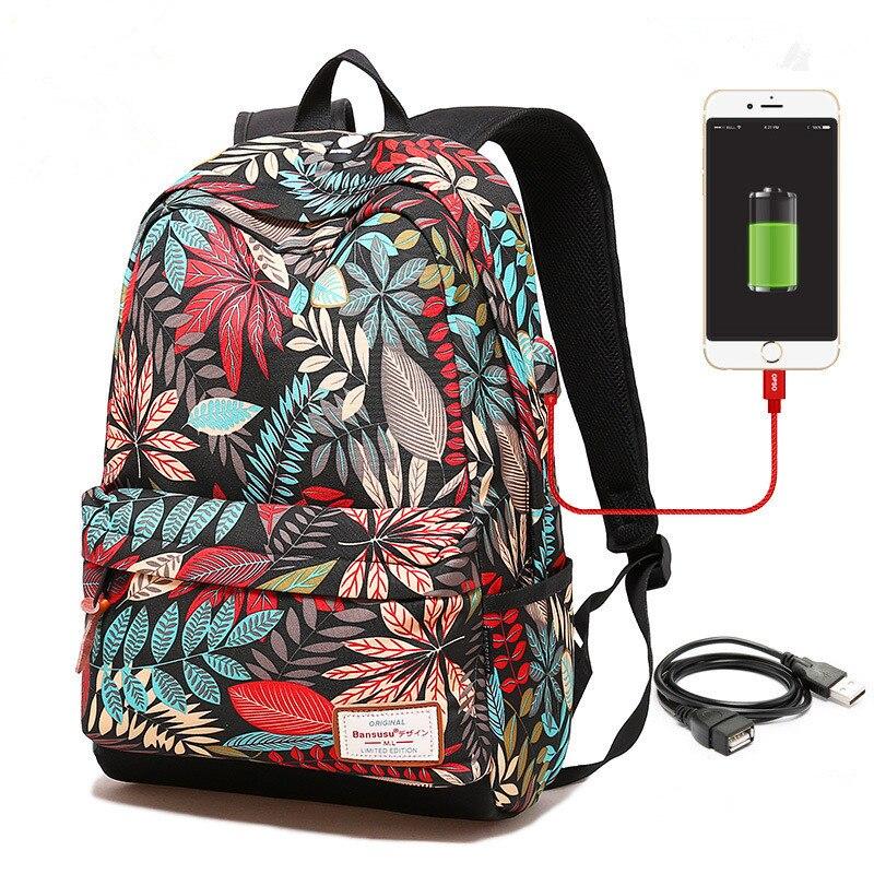 Mochila de carga USB para ordenador portátil para niñas adolescentes mochila escolar mochilas de impresión para estudiantes universitarios