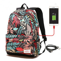 Women USB Charging Laptop Backpack For Teenage Girls School Backpack Bag Printing Female Backpacks For College