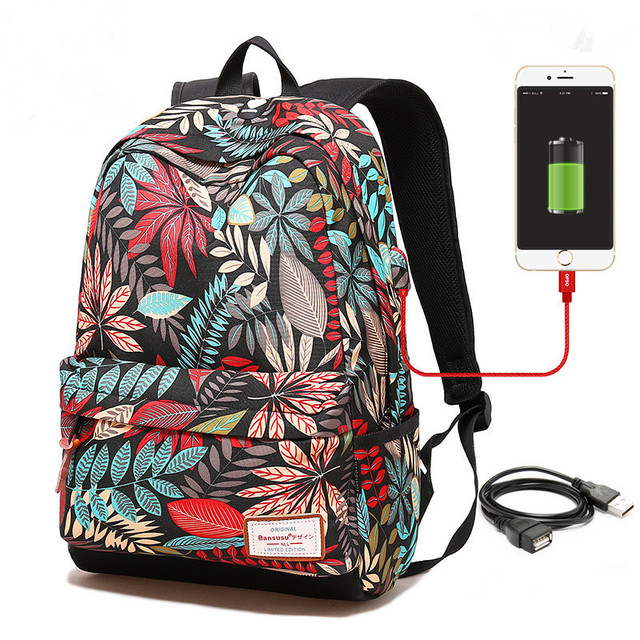 Women USB charging laptop backpack for teenage girls school backpack bag Printing Female Backpacks for college students