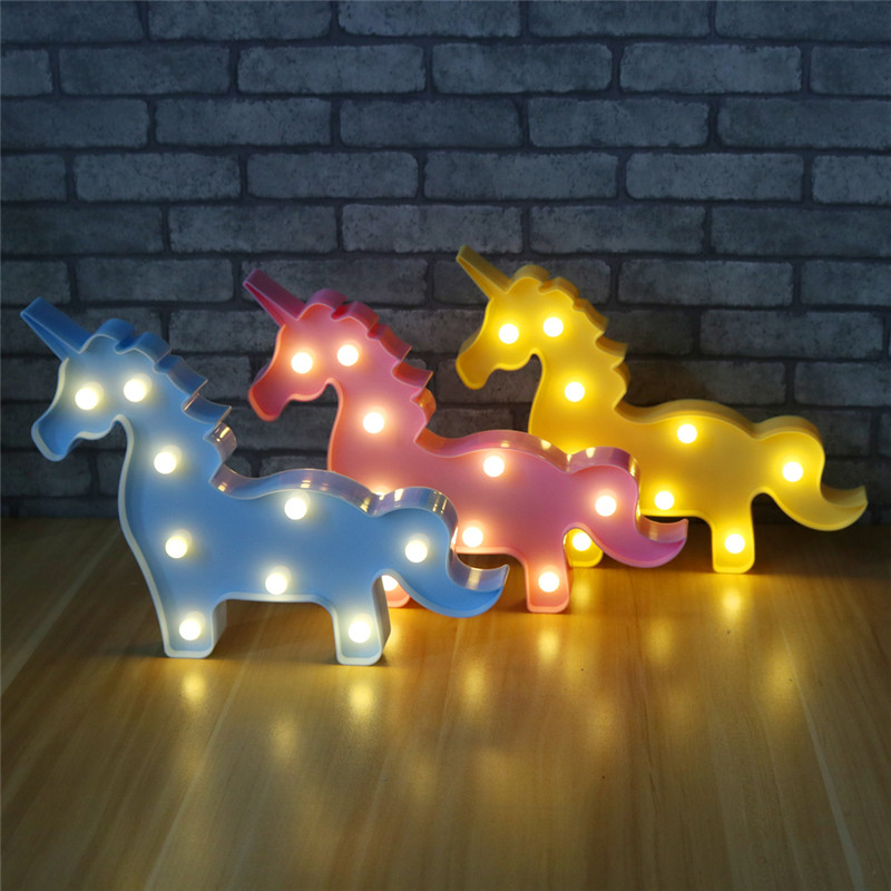 new Cute 3D Unicorn Night Light Baby ABS LED Lamp Kids Room Bedroom Bedside Lamp Party Wedding Home Decoration lamp