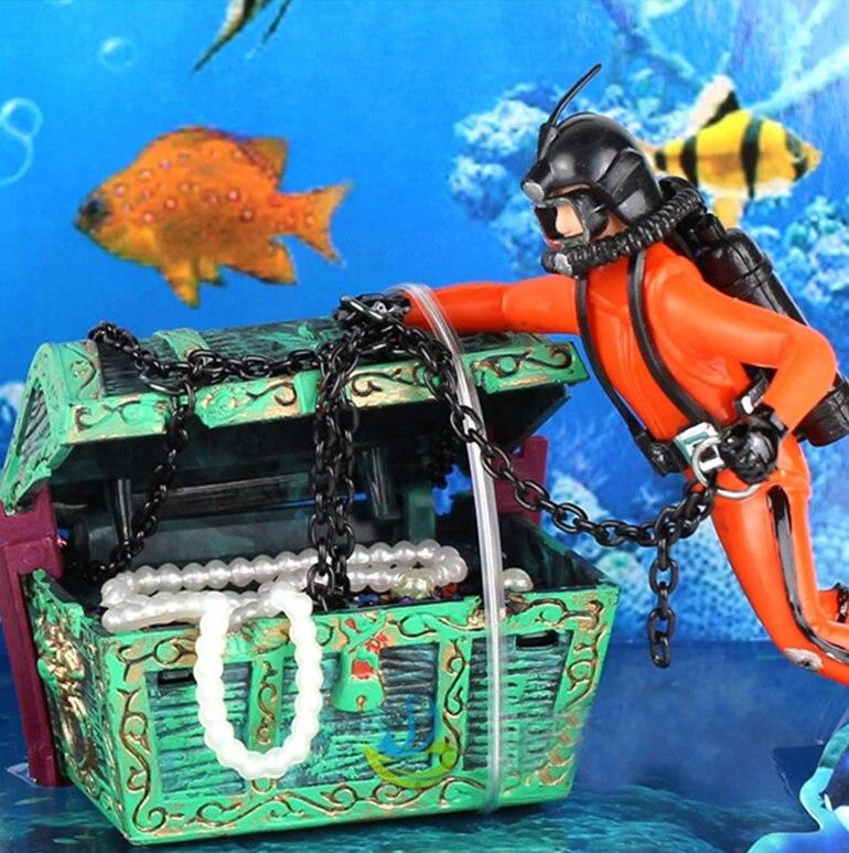 air action diver hunter treasure chest decor aquarium decoration