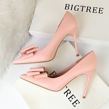 High heels women 2019 new Korean sweet stiletto high heel thin shallow mouth pointed candy color bow ladies single shoes women s pointed shallow mouth set foot flow threo bow tie knot casual single layer shoes
