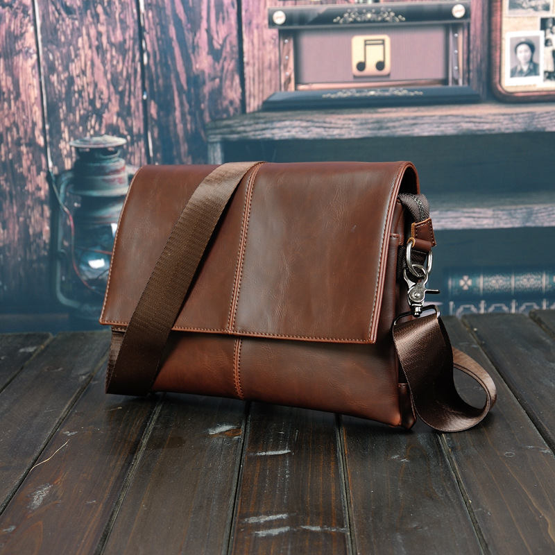PACGOTH 600g HIGH Quality Man crazy horse PU Leather bag casual Men Messenger Business Men's Briefcase Designer Handbags high quality casual men bag