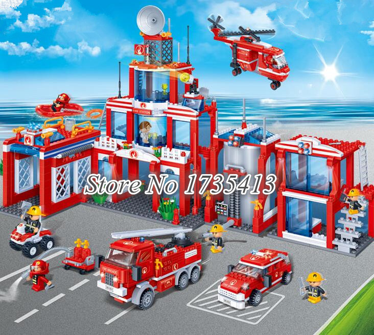 AIBOULLY 2017 New 1285 Pcs Fireman Building Block Fire Station Building Block Toys 8355 Banbao Building Block DIY Bricks lno 217pcs charizard pokemon building block