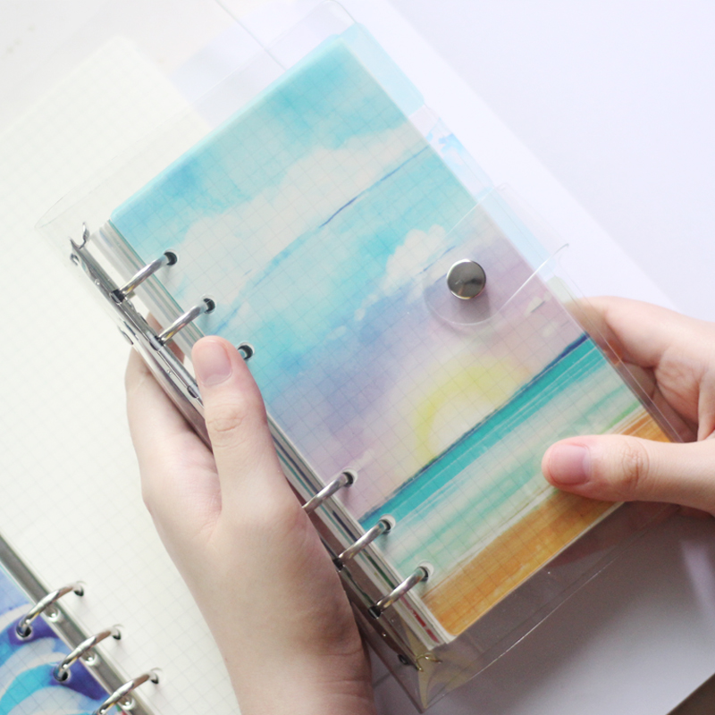 6pcs/set  Lovely Summer Beach PP Binder,  A5 A6 Loose Leaf  Notebook's  Page Index Divider, Spiral Diary DIY Accessory