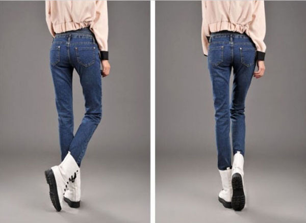 ФОТО Slim thin jeans female loose big size female waist  thin jeans female feet S144