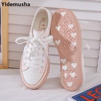 YIdemusha nouveau Style femmes baskets vulcanisées respirant décontracté étudiants blanc chaussures femme printemps automne belle toile chaussures