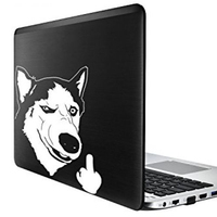 Funny Cool Serious Husky Dog Flipping Finger Car Truck SUV Laptop Sticker Decal car sticker 2
