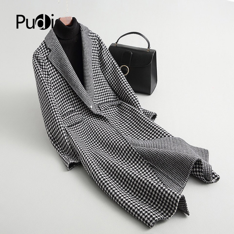PUDI A37110 2018 النساء الخريف/الشتاء جديد أزياء الصوف منقوشة سترة سيدة طويل نمط الترفيه الصوف معطف-في صوف مختلط من ملابس نسائية على  مجموعة 1