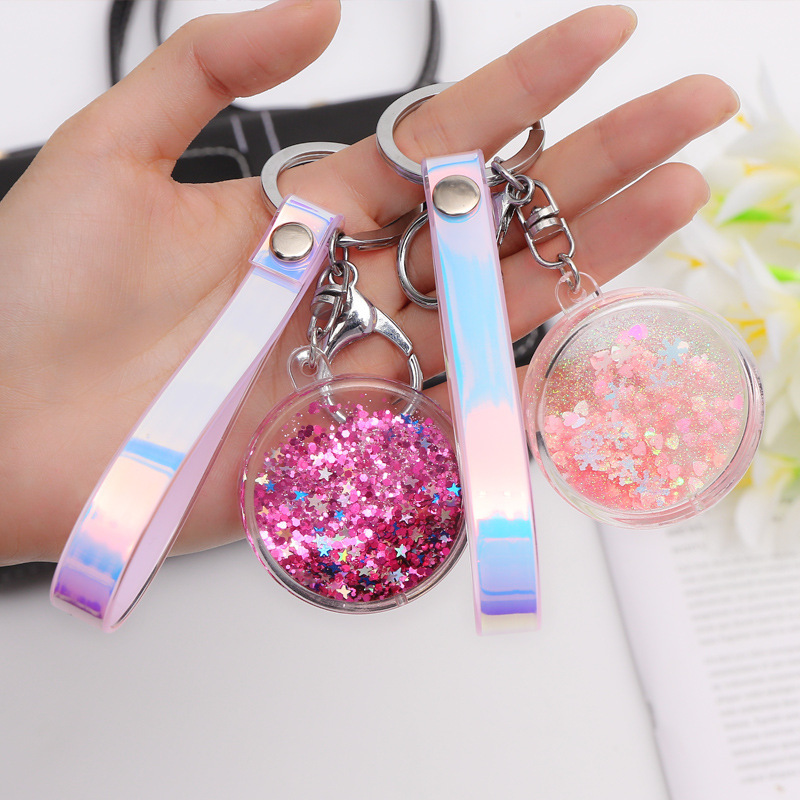 Acrylic Move Glitter Quicksand Liquid Star Key Chain Colorful PU Leather Keyring Car Key Bag Pendant Women Friend Gift Keychain