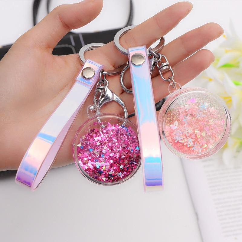 Acrylic Move Glitter Quicksand Liquid Star Key Chain Colorful PU Leather Keyring Car Key Bag Pendant Women Friend Gift Keychain