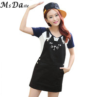 2015 New Women Vintage Denim Dress Summer Cat Print Jeans Casual Suspender Dress Plus Size Woman