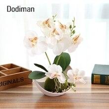 1Set Trigeminal Phalaenopsis simulation bonsai Artificial plant flower + pot decorative flower set Home table bedroom accessory