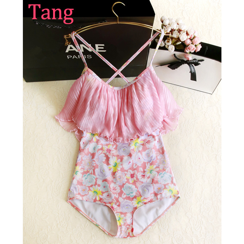 ФОТО STAR MENG Korean female Siamese swimsuit sexy backless Ruffle Pink Floral chest show steel support gather swimwear Spa