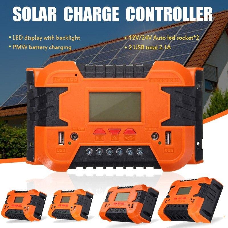 PWM10A/20A/30A/40A/50A/60A 12V/24V Auto Solar Panel Battery Charge Controller LCD Display Backlight Solar Collector Regulator