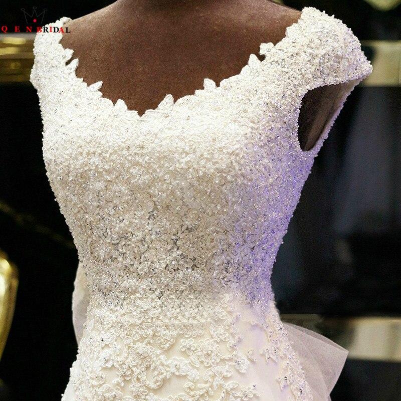 Personnalisé sirène Cap manches Tulle dentelle perles perlées robes de mariée Sexy longues robes de mariée formelles vraies Photos XJ05 - 4