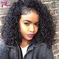 Pelo virginal brasileño rizado rizado peluca llena del cordón pelucas de cabello humano para las mujeres negras con el pelo del bebé pelucas de cabello humano rizado 150% denisty