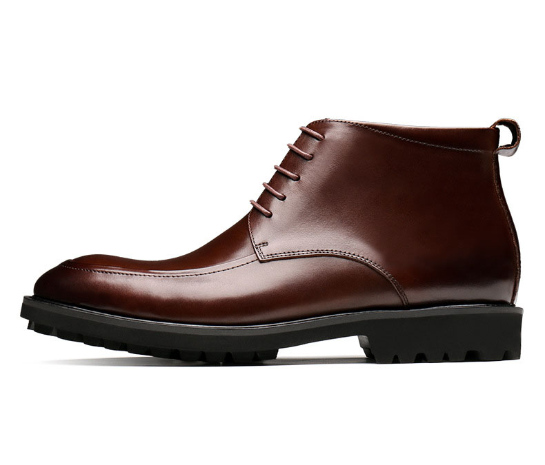 marrón 2019 De Nuevos Invierno Chelsea Botas Encaje hombre Tobillo Moda Negro Hombre Cuero Genuino Zapatos Qyfcioufu Hombres Diseñador 01TFxR0q