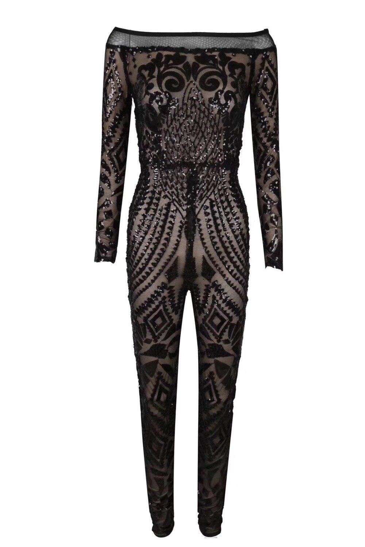 Off Maille Salopette Femmes Paillettes 2018 Parti Sexy Épaule Designer Tricoté rouge Noir Noir Élégant d6UYtq