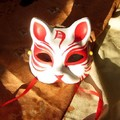 Half Face Hand-Painted Japanese Style Fox Mask Kitsune Cosplay Masquerade Moon Pattern for Halloween High Quality