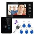 Лучшая Цена 7 ''беспроводной 2.4 Г цветная видеокамера домофонные Интерком системы rfid пароль монитор и CMOS ИК Ночного камера 806MJIDSW11