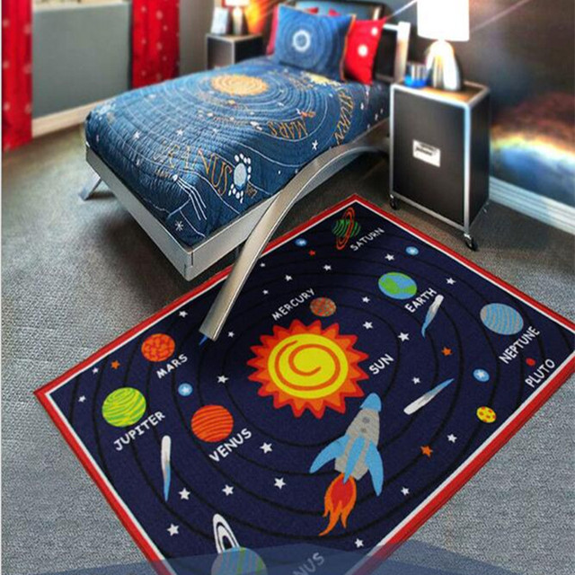 Designer Solar System Living Room Rugs,Unique Stars Kids Bedroom ...