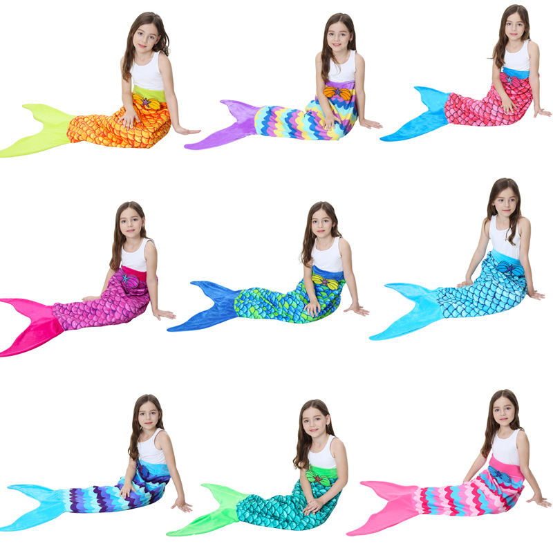 New Items Cosplay Mermaid Tail Blanket Knitted Handmade Kids Throw Bed Wrap Soft Warm Sleeping Bag 56 X 135cm