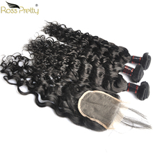 Ross Pretty Remy Brazilian Natural Wave Hair Bundles With Closure Pre Plucked Human Lace with bundle hair extension