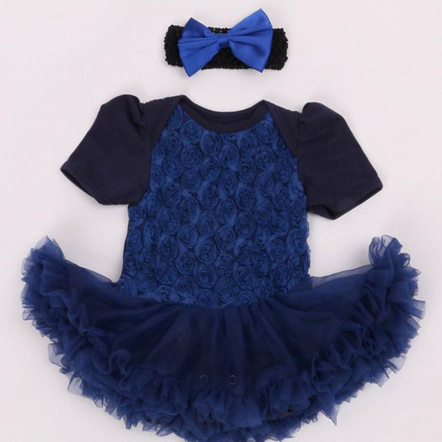 2 Unids por Juego Recién Nacido Baby Girl Vestidos Del Tutú Retro Patrón de Flores Color de Rosa con Diadema Envío Libre para 0-24Months