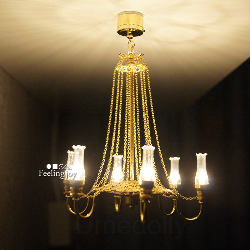 1PCS Miniature Light Dollhouse Lamps Deluxe Chandelier 1 6 1 4 BJD Blyth Pullip Dollhouse Furniture