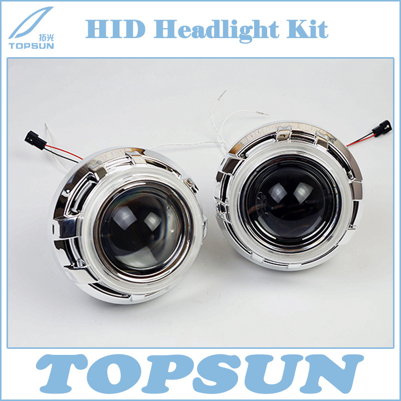 3 Inch WST Bixenon Projector Lens with COB angel eyes and Shroud fit for Most Cars Headlight Retrofit Kit 2 5 wst projector lens for h4 h7 cover top brand tc 35w h1 hid bulb ballast cob angel eyes high low beam control wire