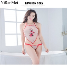 YiRanMei Red Purple And White Printing Flowers  Women Lingerie Sexy Hot Erotic Nightwear Sex Costumes