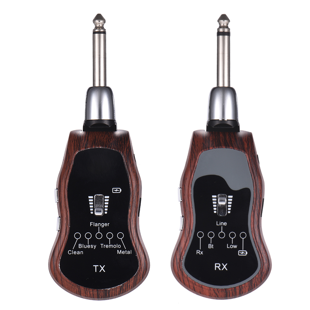 Portable UHF Guitar Wireless System Transmitter + Receiver 10 Channels Built-in 5 Effects (Clean/Bluesy/Flanger/Tremolo/Metal)Portable UHF Guitar Wireless System Transmitter + Receiver 10 Channels Built-in 5 Effects (Clean/Bluesy/Flanger/Tremolo/Metal)