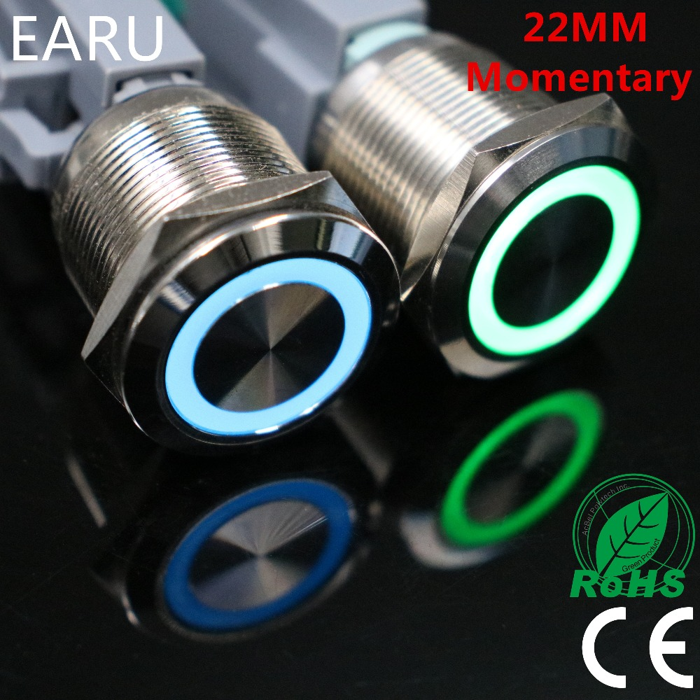 22mm Momentary Reset Waterproof Stainless Steel Metal LED Doorbell Bell Horn Power Push Button Switch Car Auto Engine Start PC 1pc 6pin 25mm metal stainless steel momentary doorebll bell horn led push button switch car auto engine start pc power symbol
