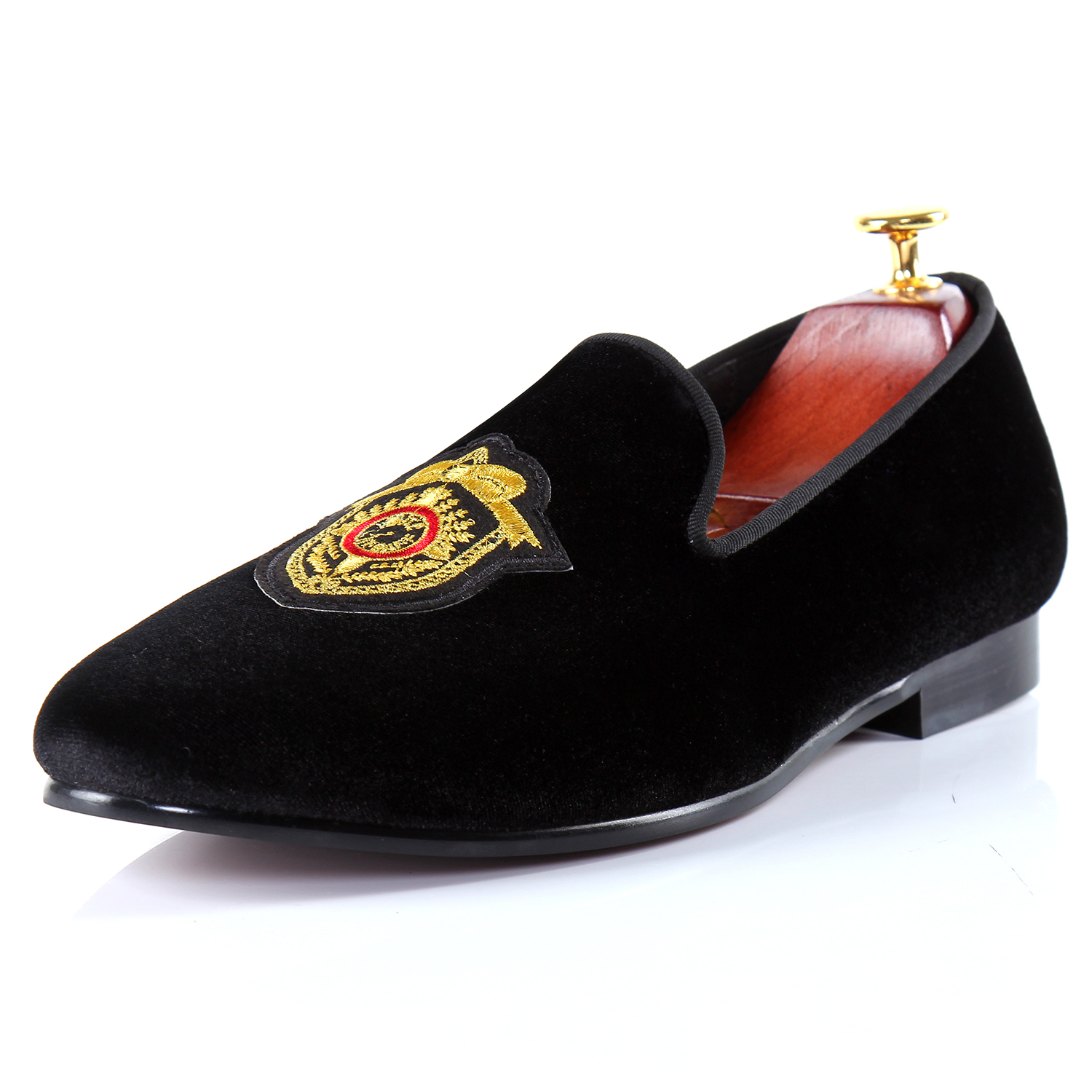 Harpelunde Leisure Shoes Black Men Loafer Shoes Velvet Badge Flats Size 7-14