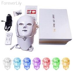 Foreverlily 7 цветов светодио дный маска для лица светодио дный корейский фотона маска машина световой терапии акне маска шеи Красота светодио дн...