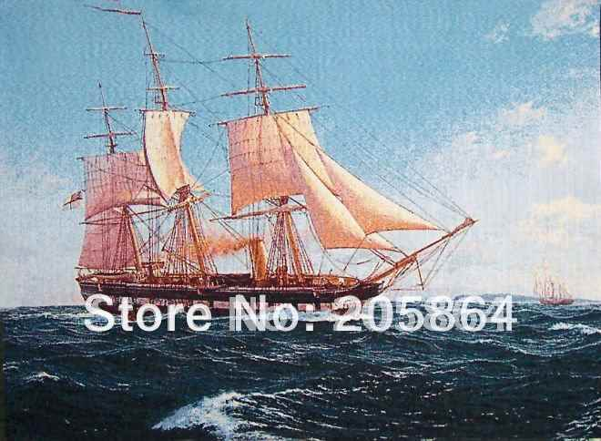 Hot sale small size  20x25cm Shipps Wall hanging gobelin tapestries,nautical Sailing style decorative wall pictures