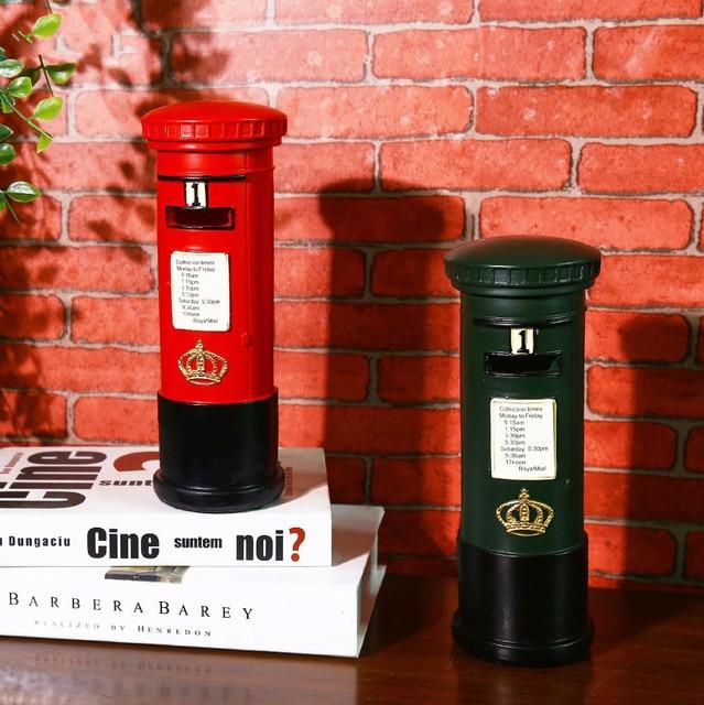 Retro London Mailbox Shabby Chic Resin Crafts Piggy Bank Vintage ...