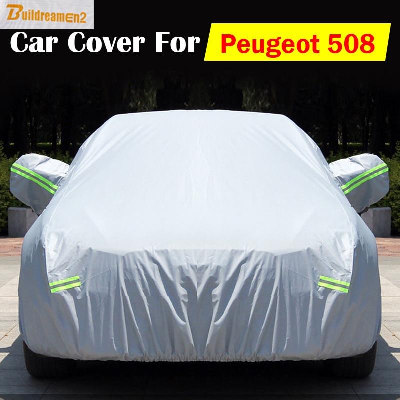 Buildreamen2 For Peugeot 508 Outdoor Car Cover Snow Rain Sun Resistant Protector Cover Anti UV Scratch