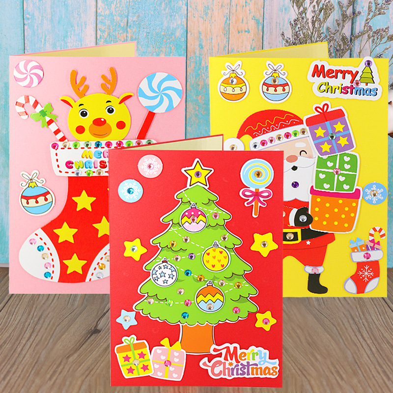 Baby DIY Handmade Christmas Card Kindergarten Children Creative Santa Claus 3D Greeting Card Craft Educational Toy Gift