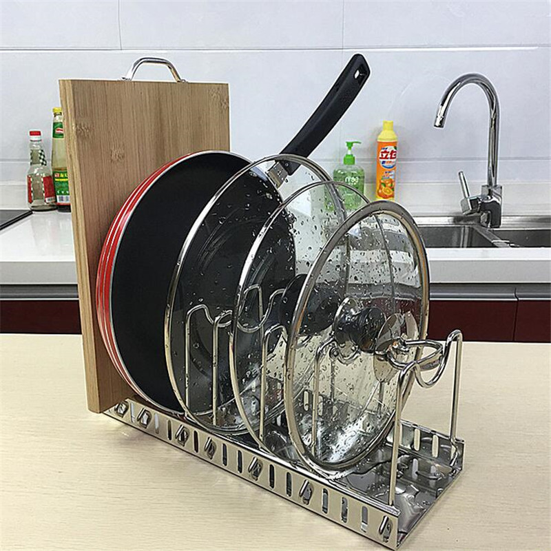 High Quality Stainless Steel Storage Rack Kitchen Organizer Holder For Pan Pot Lid Cutting Board Drying Cookware Rack Organizer