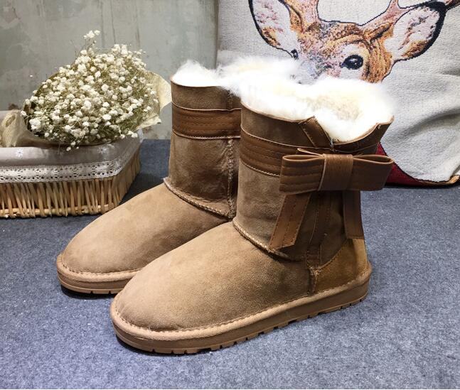 2016 Australia imported sheep fur and leather boots winter sheepskin women snow boots with  bow  anti-slip high quality