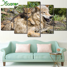 YOGOTOP DIY Diamond Painting Full Embroidery 5D Square/Round Drill Mosaic Rhinestone Home Art Wild Animal Wolf Cubs 5pcs ML729 недорго, оригинальная цена