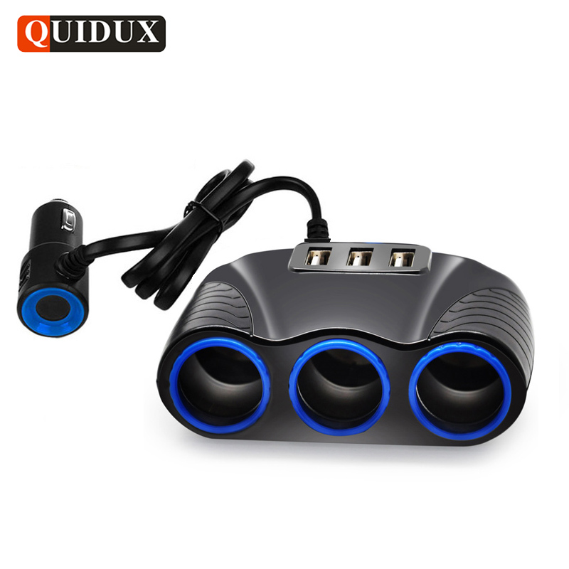 QUIDUX 3 Way Auto Sockets Car Cigarette Lighter Adapter Lighter Splitter Lighter 5V 3.1A Output Power 3 USB Car Charger 12V/24V 1 to 3 cigarette lighter power spliter with usb output black