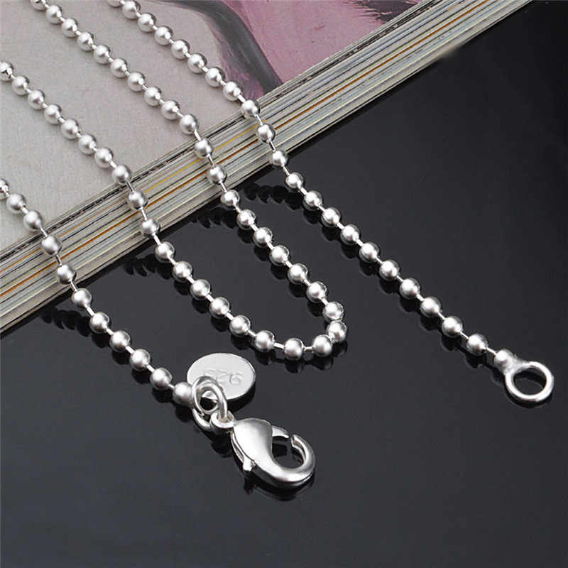 """JETTING Silver Plated 2.4MM Round Ball Beads Chain Necklace Connector Men Women Necklace 16""""-24"""" Wholesale"""