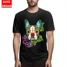 Mens Quality Boston Terrier In Red T shirt Day Of The Dead Sugar Skull Dog  Rock Roll Shirt Pure Cotton Big Size T-shirt