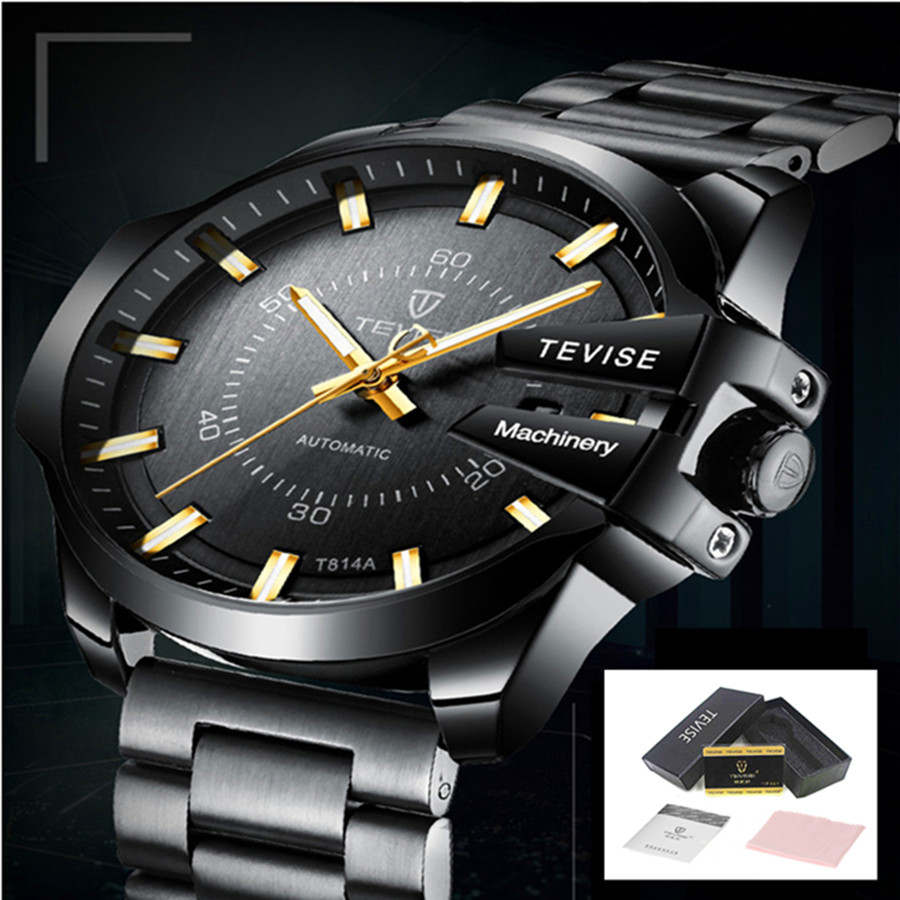 TEVISE Watch Men Luxury Automatic Mechanical Watches Luminous Business Mens Wristwatch Waterproof Gold Clock Relogio Masculino tevise fashion auto date automatic self wind watches stainless steel luxury gold black watch men mechanical t629a with tool