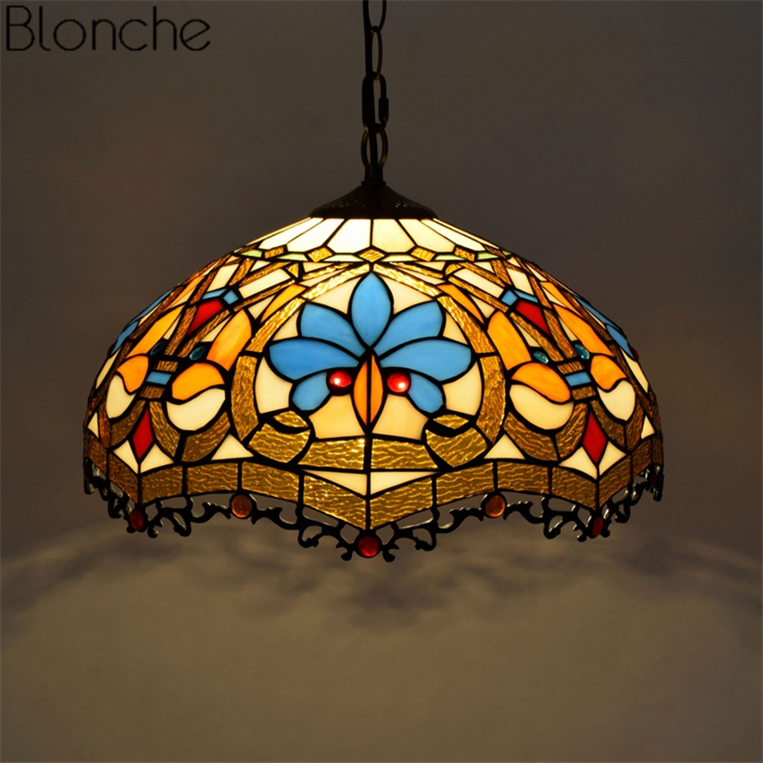 Vintage Pendant Lights Tiffany Stained Led Glass Hanging