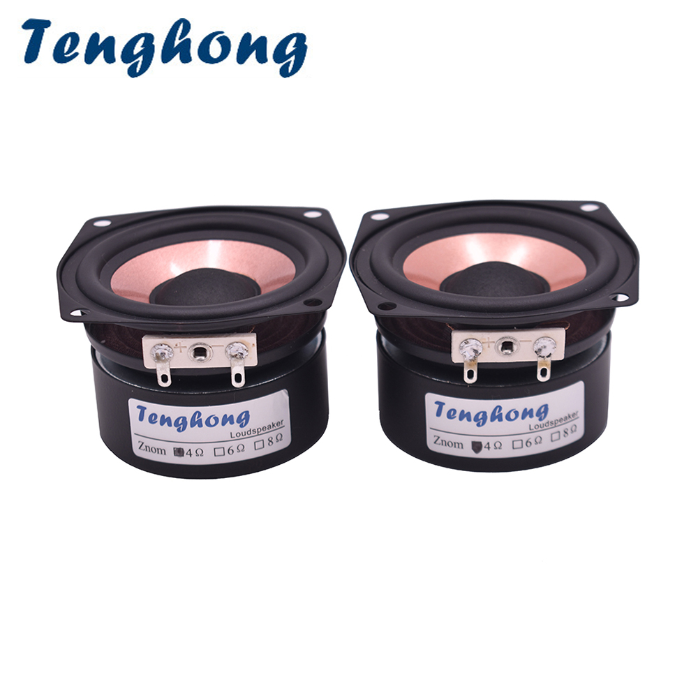 Tenghong 2pcs <font><b>2.5</b></font> Inch HIFI Audio Speaker 4/8Ohm 8-15W Full Range Desktop High Sensitivity Bass Midrange Treble Loudspeaker DIY image